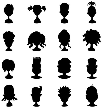 profile picture: Men, women, child black avatar profile picture icon set