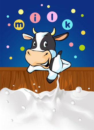 recommending: funny design with cow recommending great milk illustration with cow cartoon, milk splash and colorful dotted design with milk Illustration