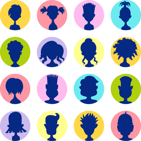 profile picture: Men, women, child colorful avatar profile picture icon set