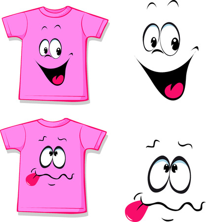 funny face: printed pink T-shirt - funny face - illustration Illustration