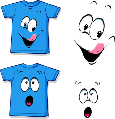 printed: printed blue T-shirt - funny face - illustration Illustration