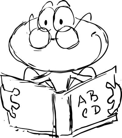 bocetos de personas: la lectura de la rana en historieta del libro
