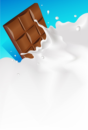 leaks: vector white splash milk illustration background with chocolate