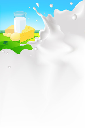 leaks: vector white splash milk illustration background with cheese and glass of milk in nature