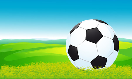 moving activity: soccer ball lying on the grass - vector illustration