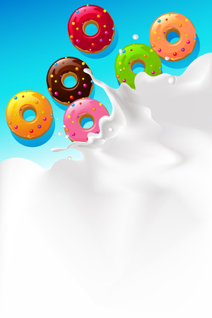 leaks: vector white splash milk illustration background with sweet donut