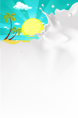 leaks: vector white splash milk illustration background with tropical beach nature
