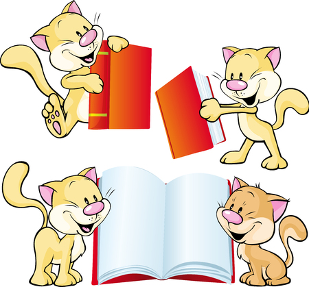 cat open: cheerful cat playing and learning with red book - vector illustration