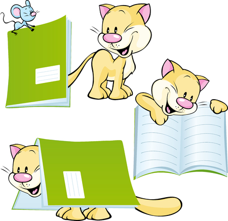 educated: cheerful cat playing and learning with workbook - vector illustration