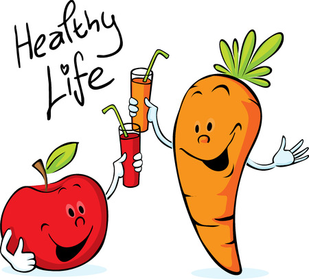carrot juice: apple and carrot juice drink for health - vector illustration