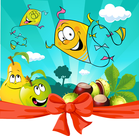 Autumn kite flying in nature,  apple and pear look - vector illustration Illustration