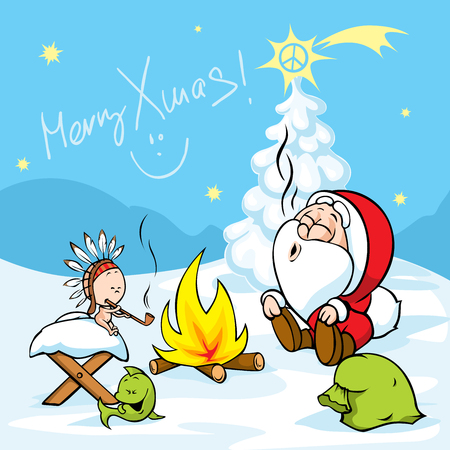 Merry Xmas - Santa with baby Jesus sitting by the fire and smokes Indian peace pipe, vector illustration cartoon Illustration