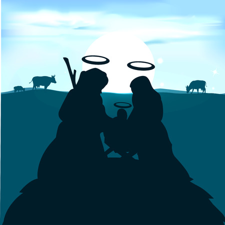 creche: Baby Jesus in the manger with Joseph and the Virgin Mary for sunrise - vector illustration