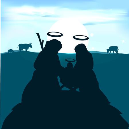 guardería: Niño Jesús en el pesebre con José y la Virgen María por la salida del sol - ilustración vectorial Vectores