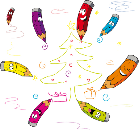 funny crayons cartoon paint Christmas - vector illustration