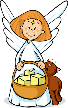 angel holding a basket full of gifts and cat fawns - cute illustration isolated Illustration