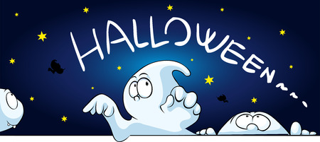 fearful: horizontal halloween banner with cute ghost peeking - vector cartoon illustration
