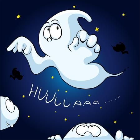 bugaboo: cute ghost peeking on dark sky background