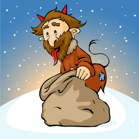 customs and habits: devil with sack Illustration