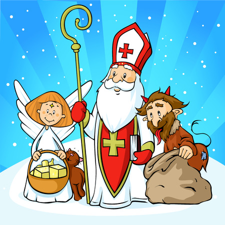 Saint Nicholas, devil and angel - illustration  with blue sky .During the Christmas season they are warning and punishing bad children and give gifts to good children.