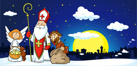 Saint Nicholas, devil and angel in town - illustration .During the Christmas season they are warning and punishing bad children and give gifts to good children.