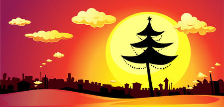 red sunset: banner with xmas tree and city in sunset - horizontal   illustration