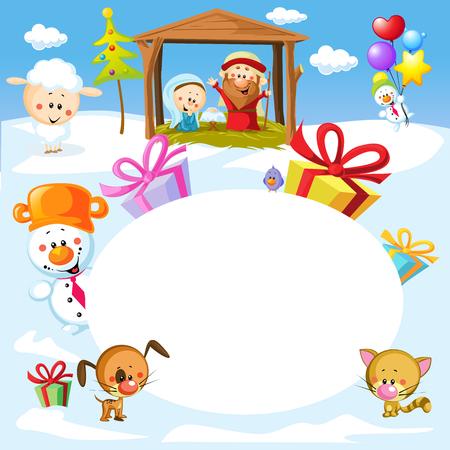 sacra famiglia: Natività a Betlemme con gli animali - Illustrazione di telaio ovale di Natale