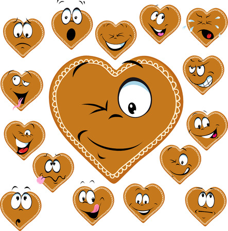 sweet heart: sweet gingerbread heart with a happy face cartoon