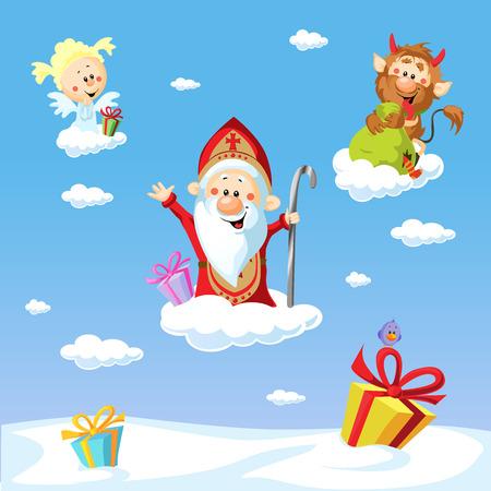 Sinterklaas, duivel en engel - afbeelding met de blauwe hemel .Tijdens de kerstdagen ze waarschuwen en bestraffen slechte kinderen en giften aan goede kinderen te geven. Stock Illustratie