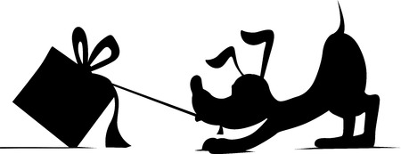 pulling: silhouette of a dog pulling up behind gift - illustration