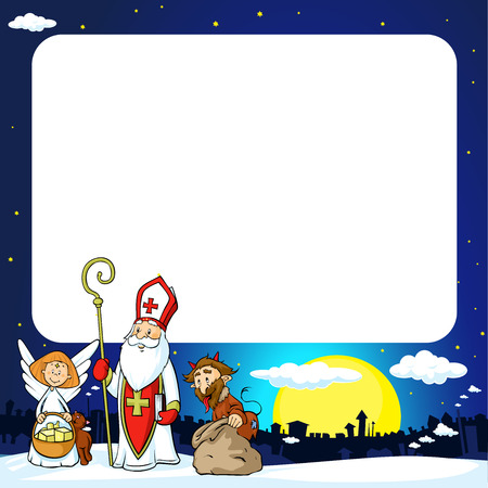 Saint Nicholas, devil and angel in town Illustration
