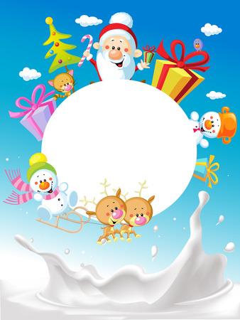 Merry Christmas frame design with Santa Claus Sleigh, Christmas Tree, Snowman and Cute Animal and milk splash