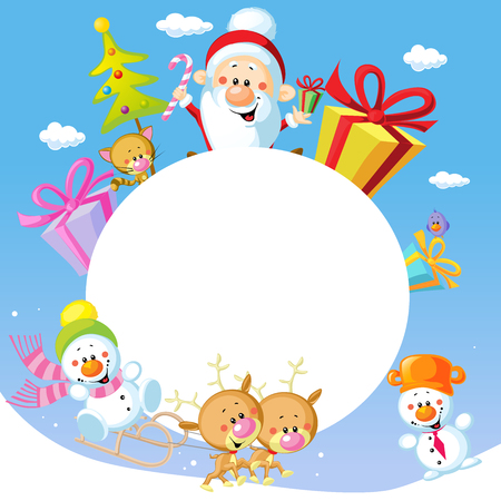 animal frame: Merry Christmas frame design with Santa Claus Sleigh, Christmas Tree, Snowman and Cute Animal Illustration