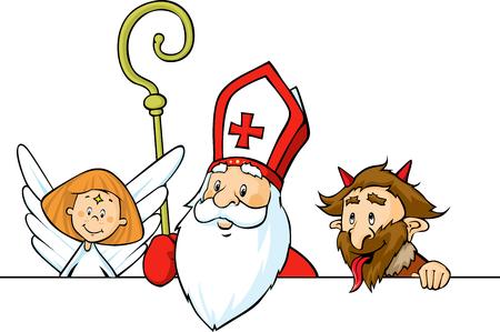 Saint Nicholas, devil and angel peeking out behind white surface