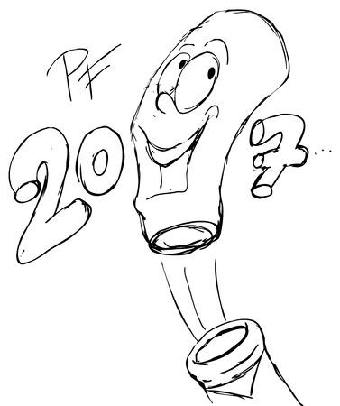New Year  bottle of champagne sketch - illustration Illustration