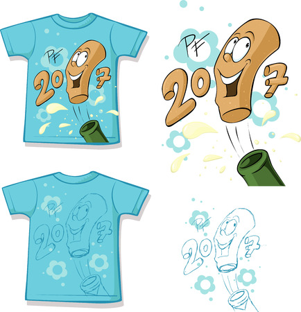 funny  shirt with a bottle of champagne design - illustration
