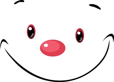 red eye: cute face - cartoon illustration