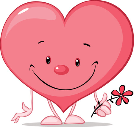 smiling faces: cute heart valentine hold flower illustration - vector cartoon