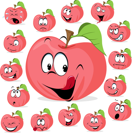 pink apple with many expressions - funny apple vector illustration cartoon Illustration