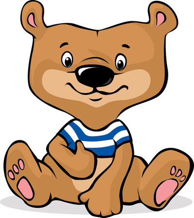 cute brown bear illustration sitting - vector