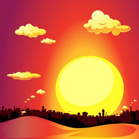 afar: red city sunset - vector illustration