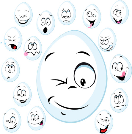funny face: funny white egg with face - vector cartoon illustration