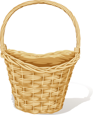 big empty basket isolated on white - vector illustration Illustration