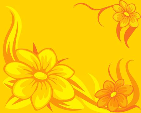 flower background yellow orange - vector illustration