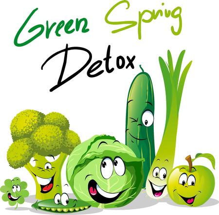 Green Spring Detox - funny vector design with vegetable cartoon