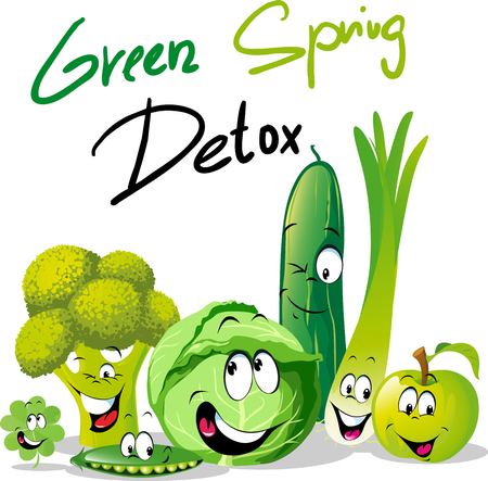 Green Spring Detox - funny vector design with vegetable cartoon