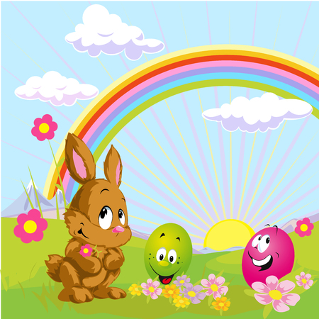 sundown: funny easter kitsch with bunny and egg - vector illustration