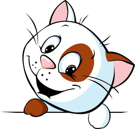 かわいい猫漫画のピーク - ベクトル イラスト