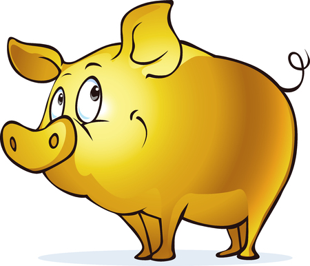 Golden pig illustration. Stock Illustratie