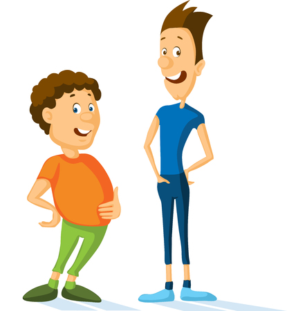Fat and slim sportsman cartoon vector illustration - flat design